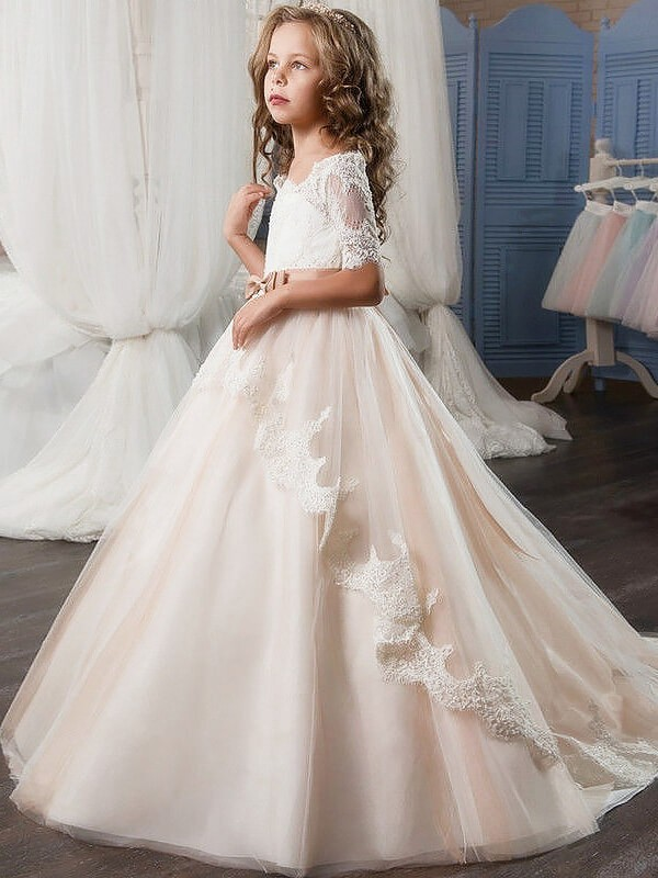 Smart Ball Gown Off-the-Shoulder Cut Tulle Long Flower Girl Dresses With Sash/Ribbon/Belt