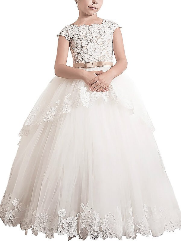 Sweet Ball Gown Scoop Cut Tulle Long Flower Girl Dresses With Lace
