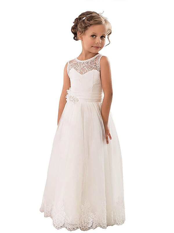 Hot A-Line Scoop Cut Tulle Long Flower Girl Dresses With Ruffles