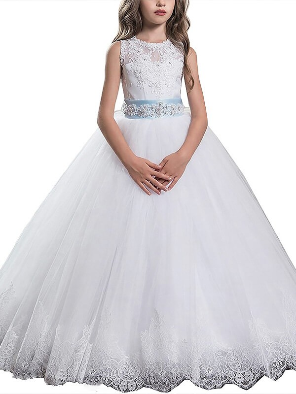 Gorgeous Ball Gown Scoop Cut Tulle Long Flower Girl Dresses With Applique