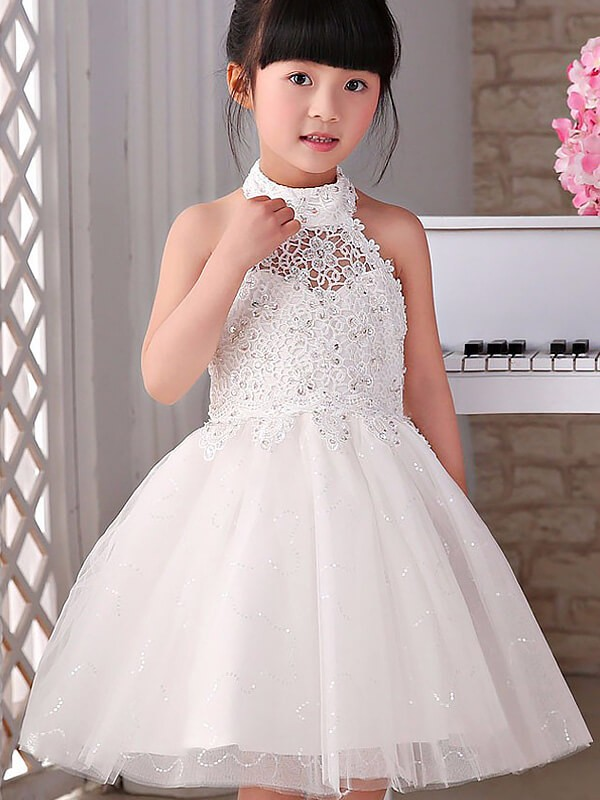 Elegant A-Line Halter Cut Tulle Short Flower Girl Dresses With Beading