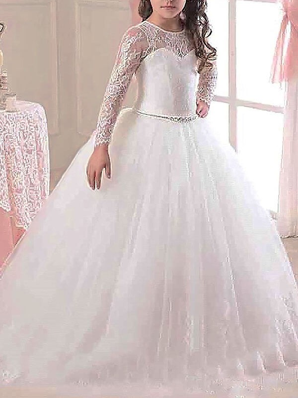 Awesome Ball Gown Scoop Cut Tulle Long Flower Girl Dresses With Lace