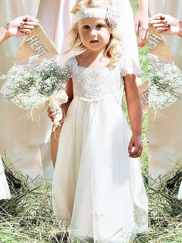 Unique A-Line Square Cut Chiffon Long Flower Girl Dresses With Lace
