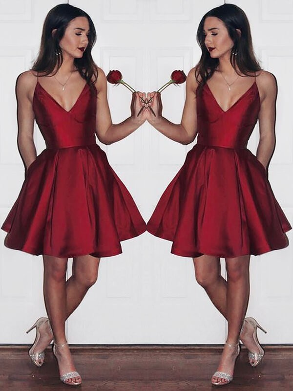 Glamorous A-Line V-neck Cut Satin Short Dresses With Ruffles
