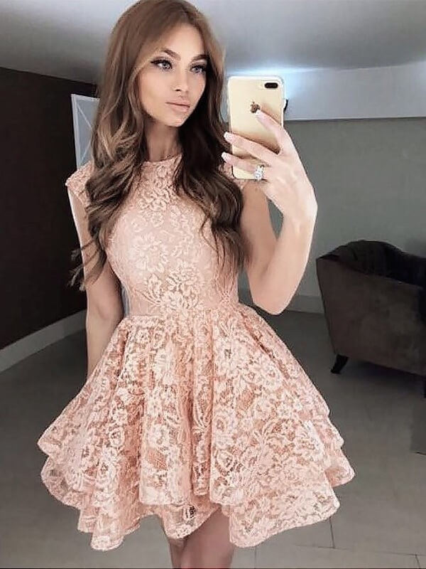 Popular A-Line Scoop Cut Lace Short Dresses With Ruffles