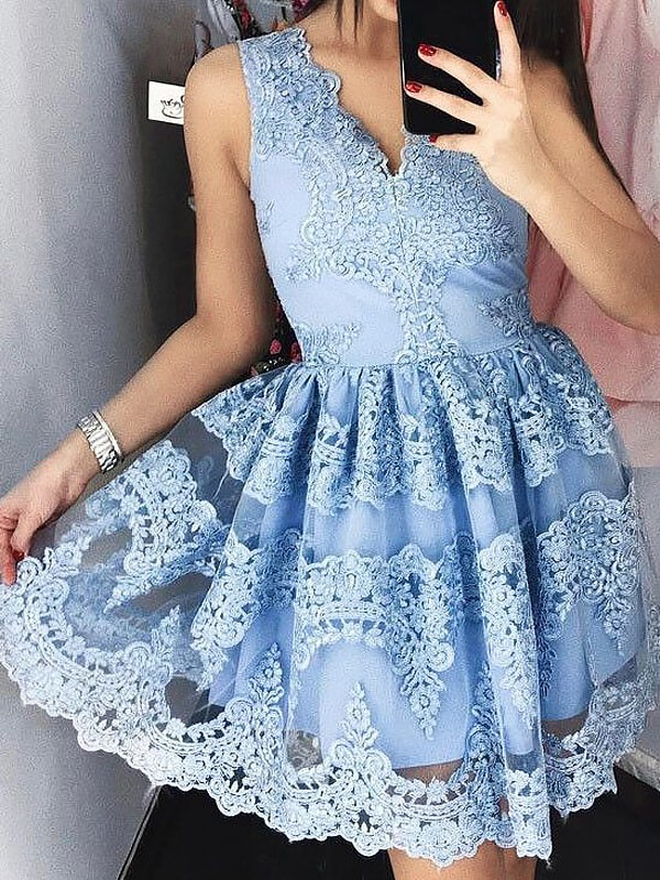 Pretty A-Line V-neck Cut Lace Short Dresses With Ruffles