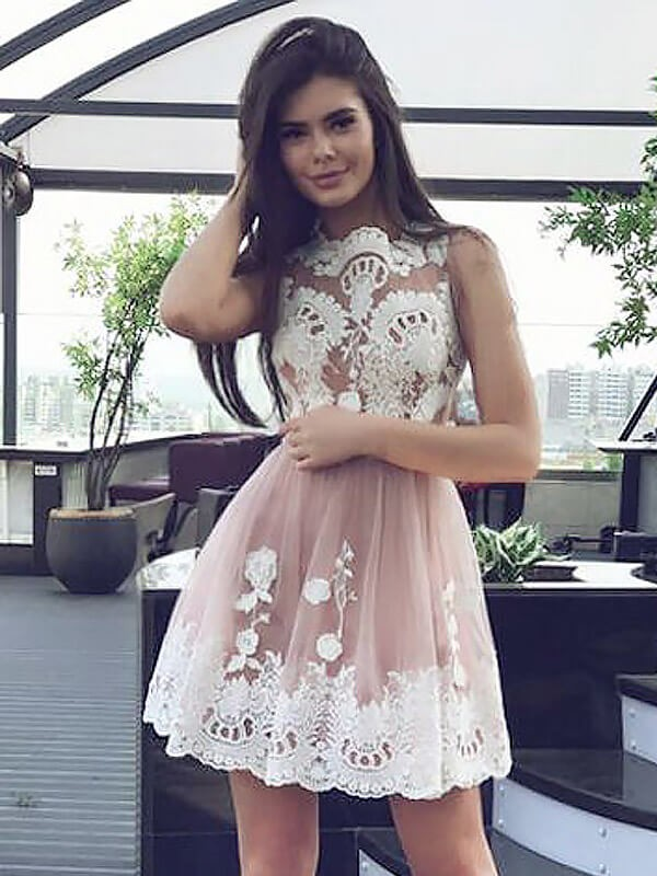 Graceful A-Line Scoop Cut Chiffon Short Dresses With Lace
