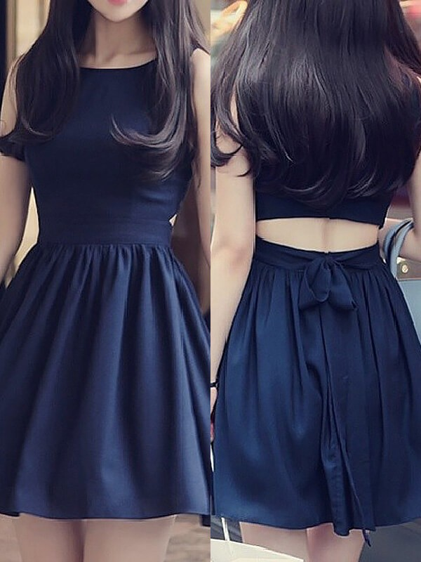 Stunning A-Line Scoop Cut Chiffon Short Dresses With Ruffles