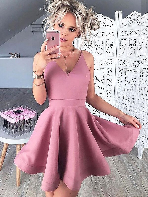 Soft A-Line V-neck Cut Satin Short Dresses With Ruffles
