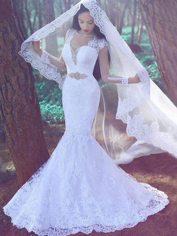 Gorgeous Mermaid Sweetheart Cut Lace Long Wedding Dresses With Applique