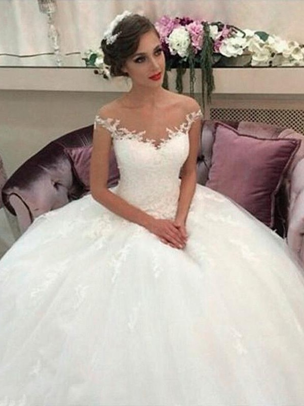 Awesome Ball Gown Off-the-Shoulder Cut Tulle Long Wedding Dresses With Ruffles