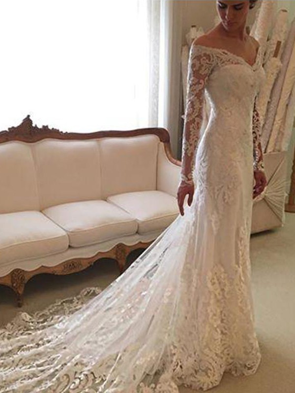 Exquisite Sheath Off-the-Shoulder Cut Lace Long Wedding Dresses With Ruffles