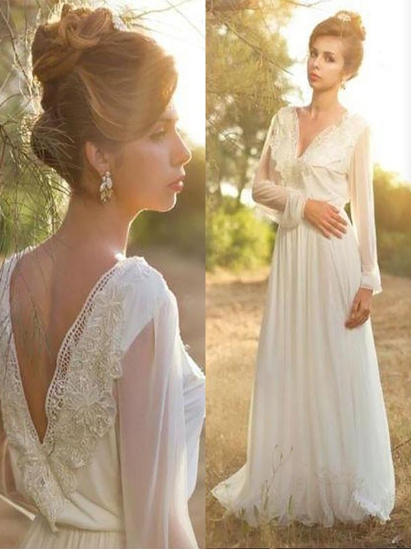 Graceful A-Line V-neck Cut Chiffon Long Wedding Dresses With Lace
