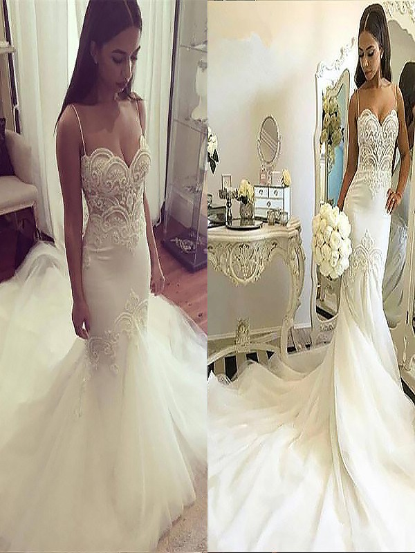 Fashional Mermaid Spaghetti Straps Cut Tulle Long Wedding Dresses With Ruffles