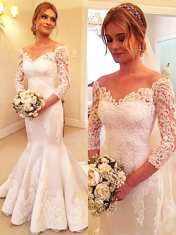 Lovely Mermaid Off-the-Shoulder Cut Satin Long Wedding Dresses With Ruffles