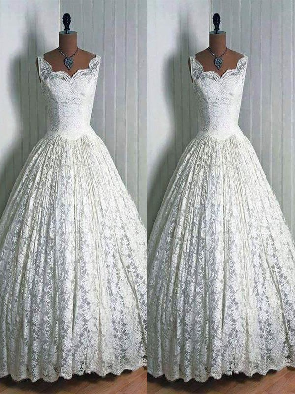 Special Ball Gown Sweetheart Cut Lace Long Wedding Dresses With Ruffles