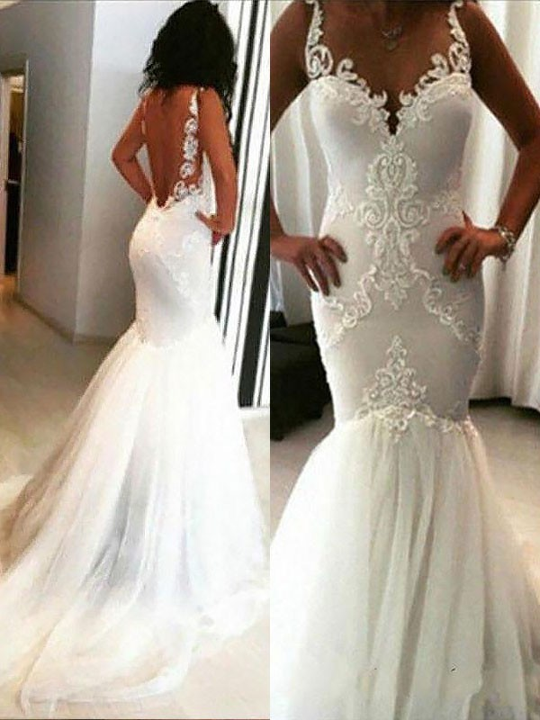 Delicate Mermaid Spaghetti Straps Cut Tulle Long Wedding Dresses With Applique