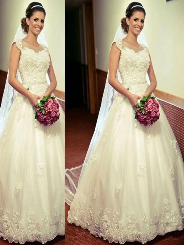 Soft Ball Gown Sweetheart Cut Tulle Long Wedding Dresses With Ruffles