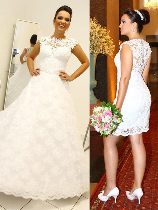 Chic Ball Gown Scoop Cut Lace Long Wedding Dresses With Ruffles