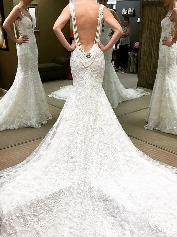 Hot Ball Gown Off-the-Shoulder Cut Lace Long Wedding Dresses With Ruffles