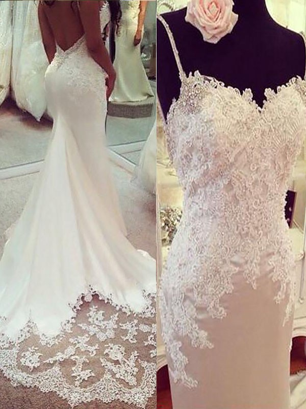 Glamorous Mermaid Spaghetti Straps Cut Satin Long Wedding Dresses With Applique