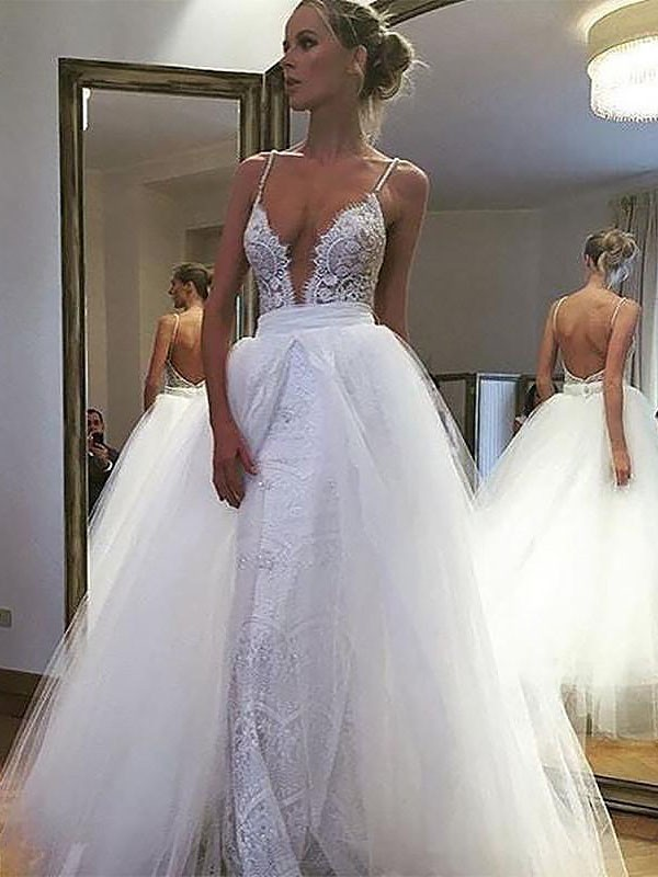 Popular A-Line Spaghetti Straps Cut Tulle Long Wedding Dresses With Lace