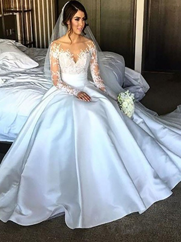 Pretty Ball Gown Off-the-Shoulder Cut Satin Long Wedding Dresses With Ruffles