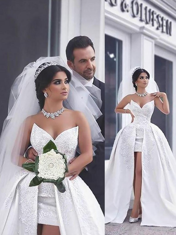 Elegant Ball Gown Sweetheart Cut Satin Long Wedding Dresses With Beading