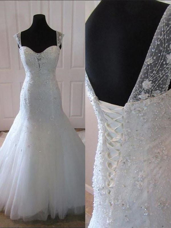 Awesome Mermaid Straps Cut Tulle Long Wedding Dresses With Ruffles