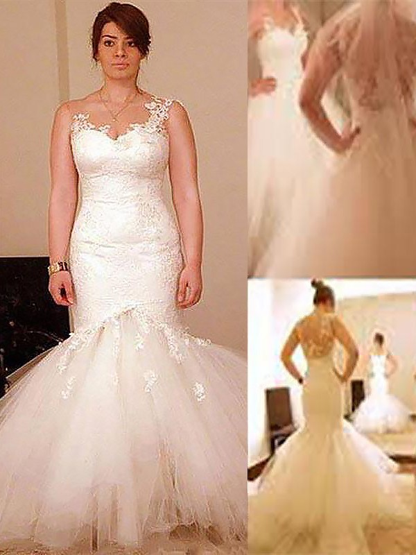 Exquisite Mermaid Straps Cut Organza Long Wedding Dresses With Ruffles