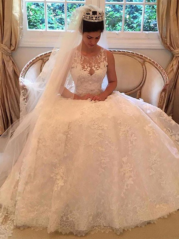Unique A-Line Scoop Cut Lace Long Wedding Dresses With Applique