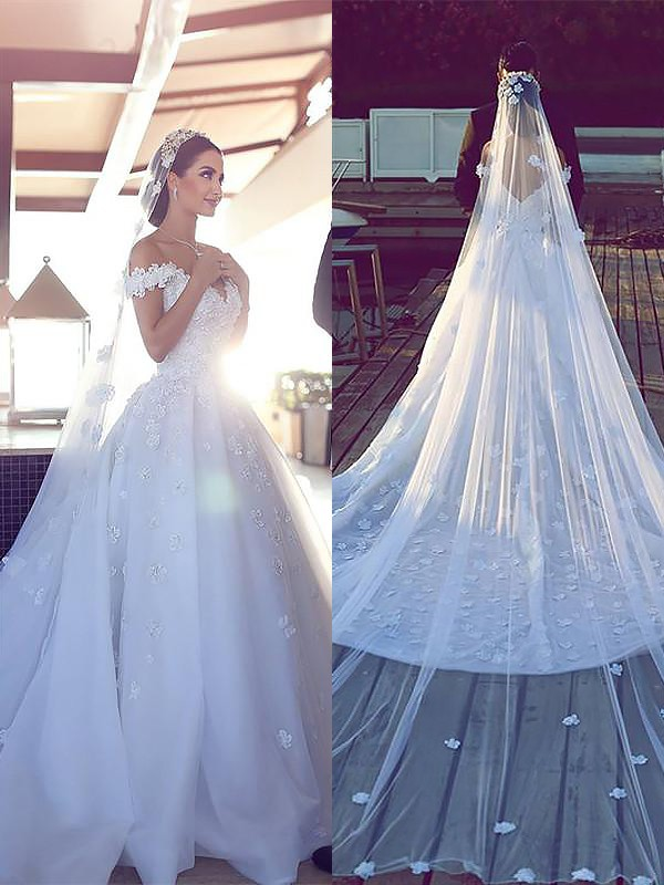 Graceful Ball Gown V-neck Cut Satin Chiffon Long Wedding Dresses With Ruffles