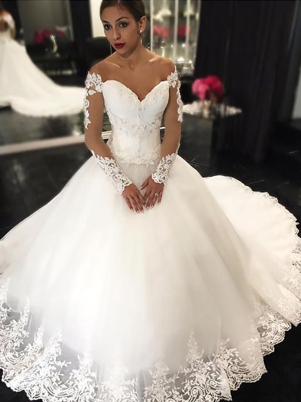 Attractive Ball Gown Off-the-Shoulder Cut Tulle Long Wedding Dresses With Applique