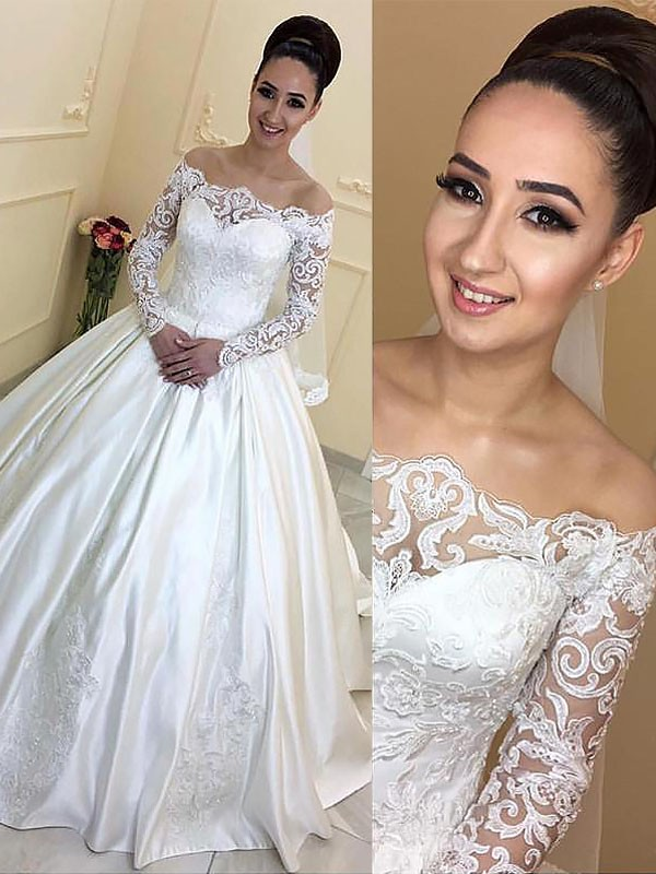 Delicate Ball Gown Off-the-Shoulder Cut Satin Long Wedding Dresses With Ruffles