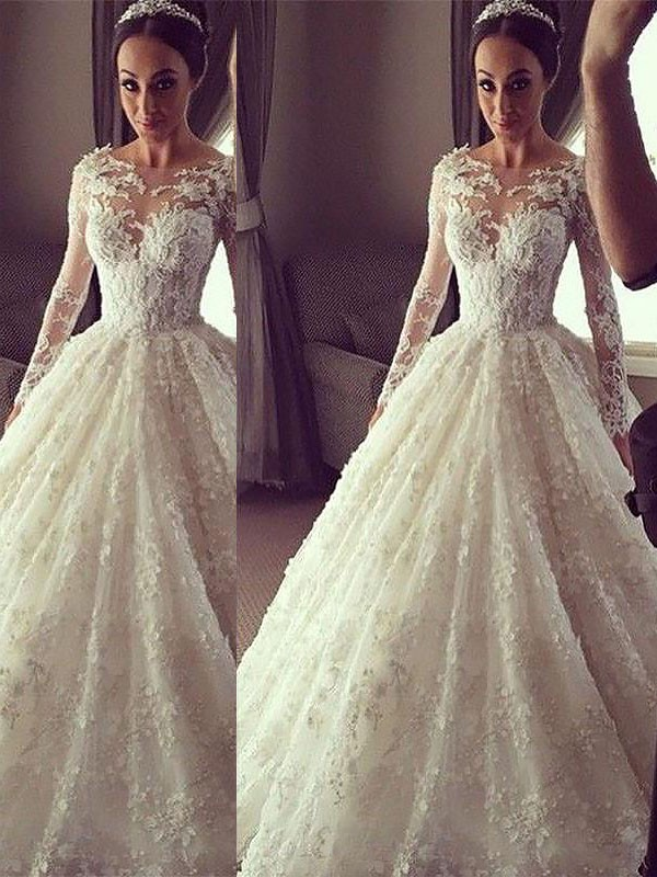 Bright Ball Gown Scoop Cut Lace Long Wedding Dresses With Ruffles