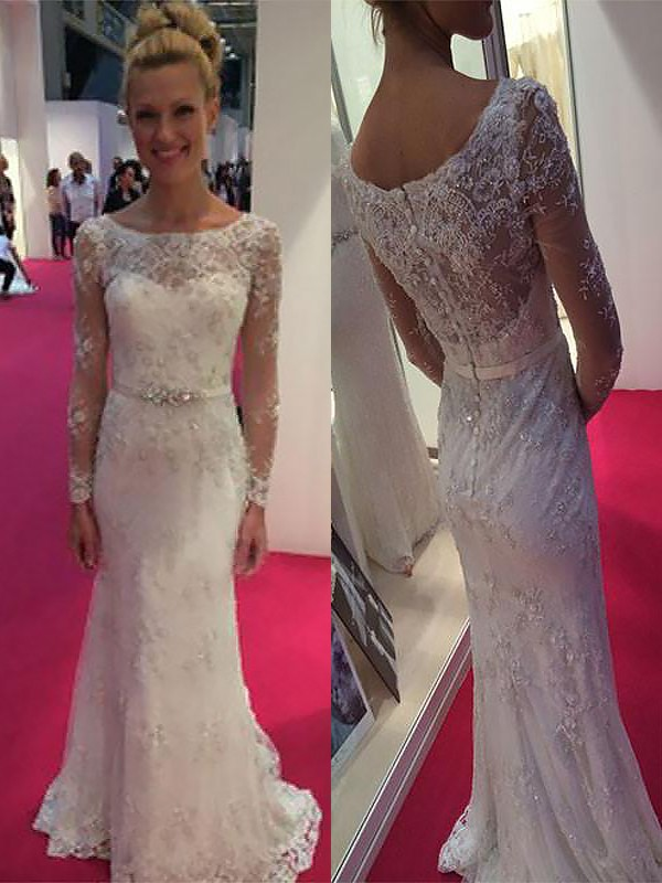 Modern Sheath Scoop Cut Chiffon Long Wedding Dresses With Lace