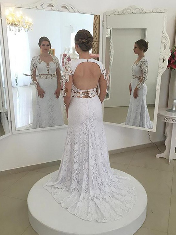 Soft Sheath Scoop Cut Lace Long Wedding Dresses With Ruffles