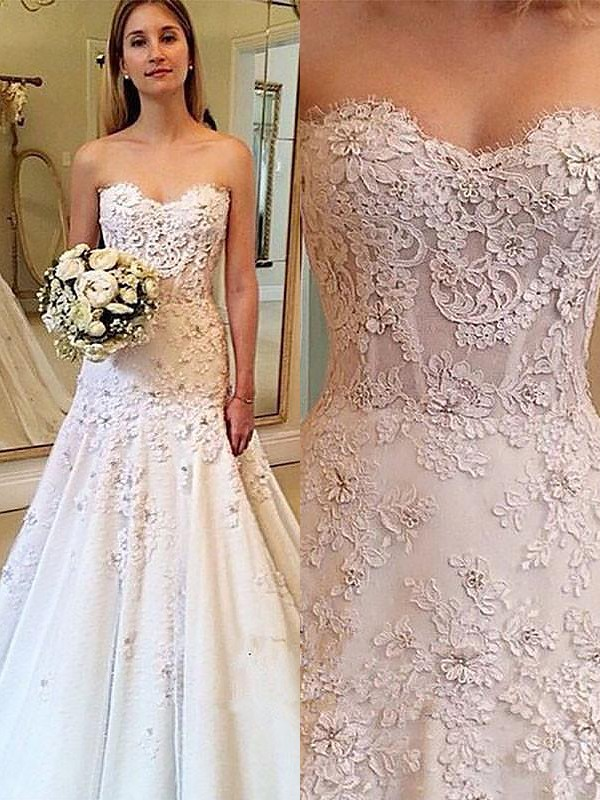 Radiant A-Line Sweetheart Cut Lace Long Wedding Dresses With Ruffles