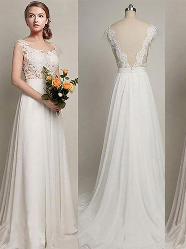 Smart A-Line Scoop Cut Chiffon Long Wedding Dresses With Ruffles