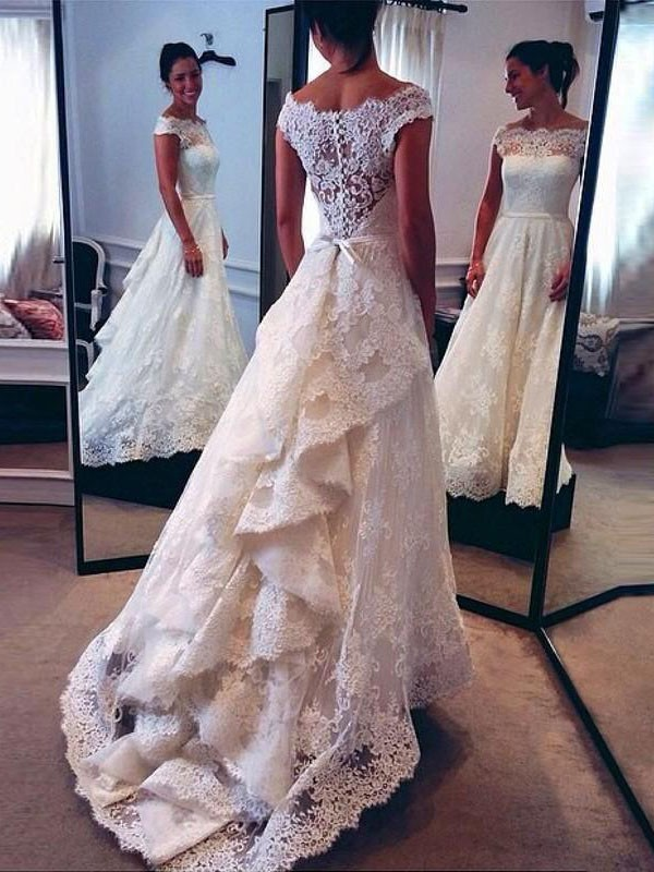 Sweet A-Line Scoop Cut Lace Long Wedding Dresses With Ruffles