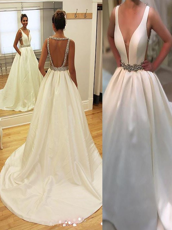 Hot A-Line V-neck Cut Satin Long Wedding Dresses With Ruffles