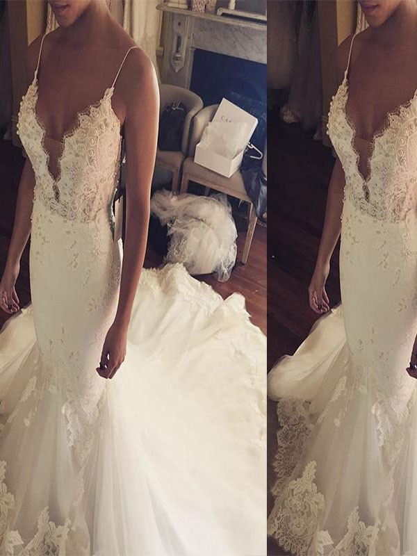 Glamorous Mermaid Spaghetti Straps Cut Tulle Long Wedding Dresses With Ruffles