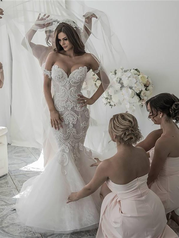 Trendy Mermaid Off-the-Shoulder Cut Tulle Long Wedding Dresses With Ruffles