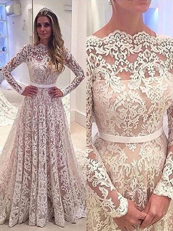 Pretty A-Line Bateau Cut Lace Long Wedding Dresses With Ruffles