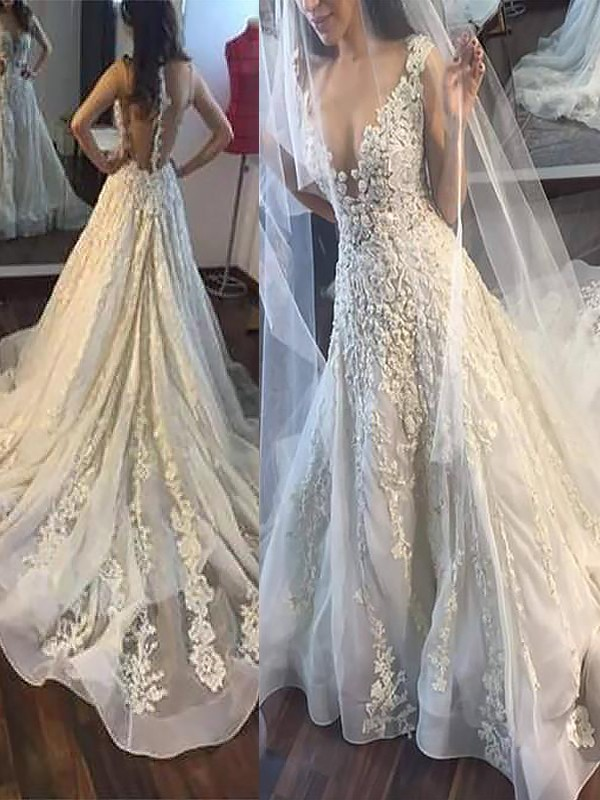 Fashional A-Line V-neck Cut Tulle Long Wedding Dresses With Ruffles