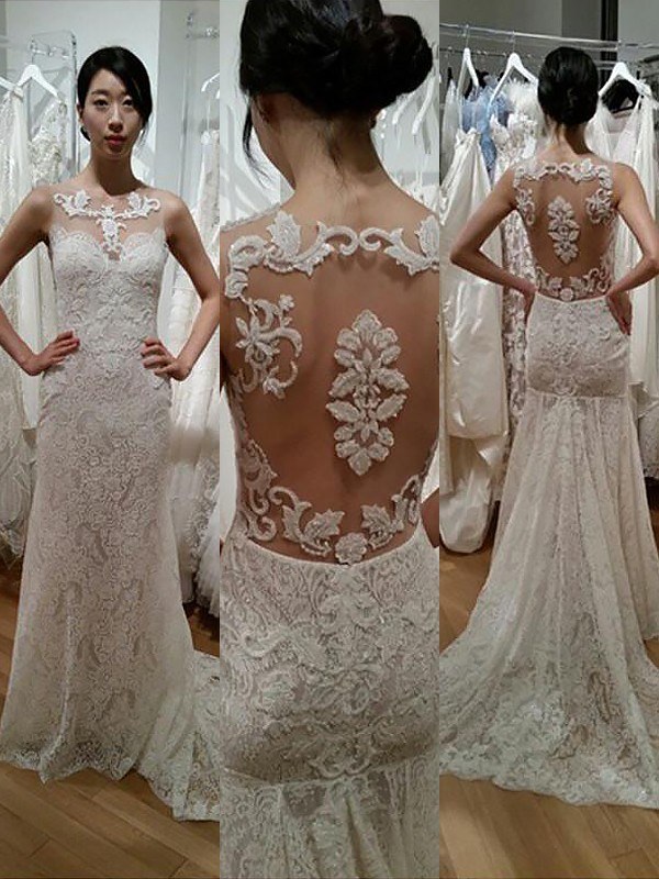 Lovely Mermaid Scoop Cut Lace Long Wedding Dresses With Ruffles