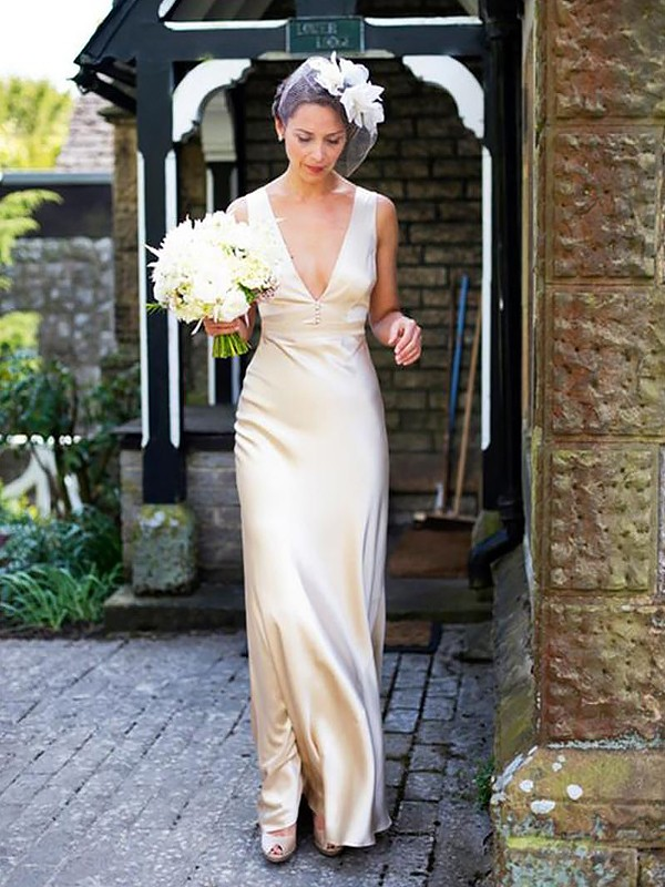Attractive Sheath V-neck Cut Satin Long Wedding Dresses With Ruffles