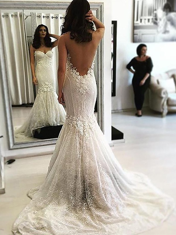 Special Mermaid Sweetheart Cut Lace Long Wedding Dresses With Ruffles
