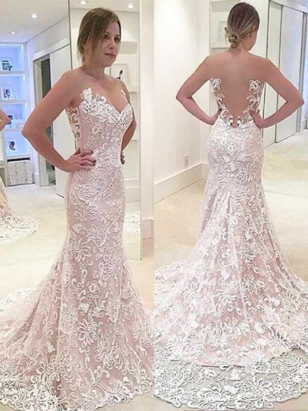 Modern Mermaid Sweetheart Cut Lace Long Wedding Dresses With Ruffles