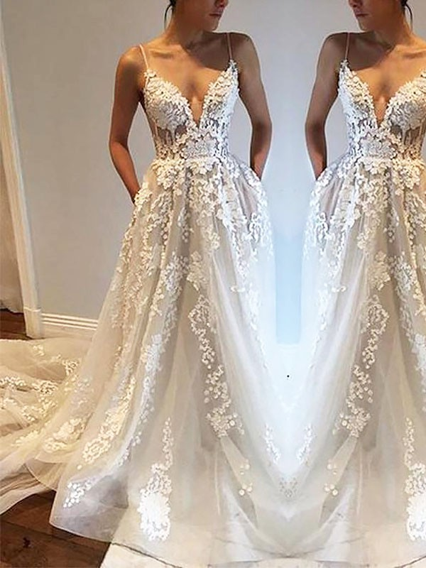 Chic A-Line Spaghetti Straps Cut Tulle Long Wedding Dresses With Ruffles
